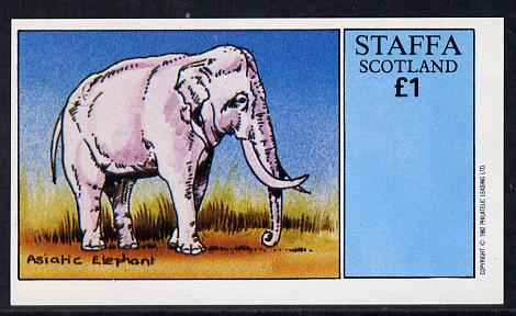 Staffa 1982 Asiatic Elephant imperf souvenir sheet (�1 value) unmounted mint