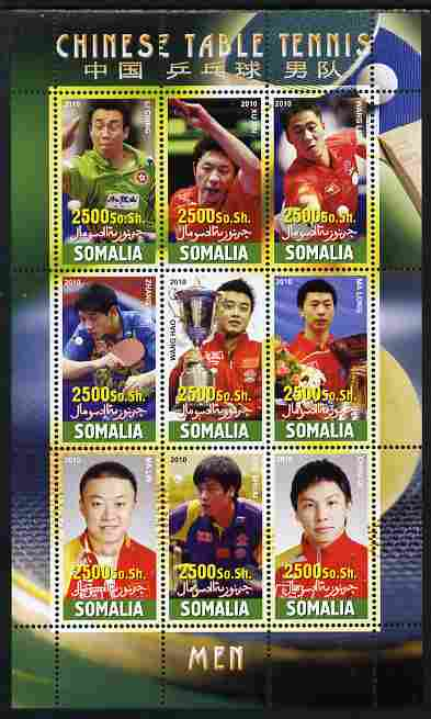 Somalia 2010 Chinese Table Tennis Stars - Male perf sheetlet containing 9 values unmounted mint