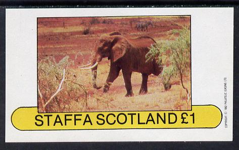 Staffa 1982 Elephant imperf souvenir sheet (�1 value) unmounted mint