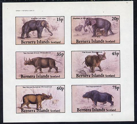 Bernera 1982 Animals (Elephants, Hippo etc) impperf set of 6 values (15p to 75p) unmounted mint