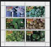 Altaj Republic 1997 Minerals perf sheetlet containing set of 6 values complete with Asia