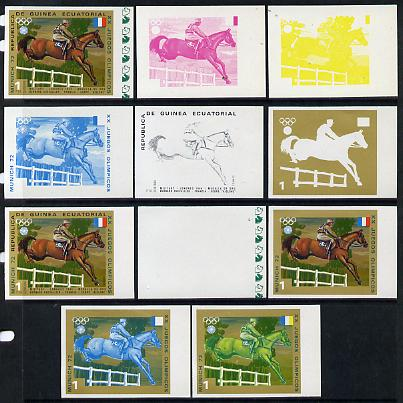 Equatorial Guinea 1972 Munich Olympics (5th series) 3-Day Eventing 1pt (Chevallier on Aiglone) set of 11 imperf progressive proofs comprising the 6 individual colours plus composites of 2, 3, 4, 5 and all 6 colours, a superb group unmounted mint (as Mi 126)