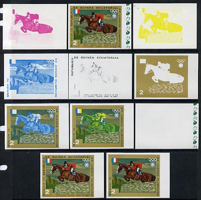 Equatorial Guinea 1972 Munich Olympics (5th series) 3-Day Eventing 2pts (D'Oriola on Ali Baba) set of 11 imperf progressive proofs comprising the 6 individual colours plus composites of 2, 3, 4, 5 and all 6 colours, a superb group unmounted mint (as Mi 127)