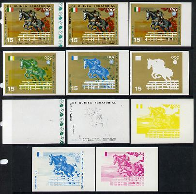 Equatorial Guinea 1972 Munich Olympics (5th series) 3-Day Eventing 15pts (Mauro Checcoli on Sunbeam) set of 11 imperf progressive proofs comprising the 6 individual colours plus composites of 2, 3, 4, 5 and all 6 colours, a superb group unmounted mint (as Mi 131)