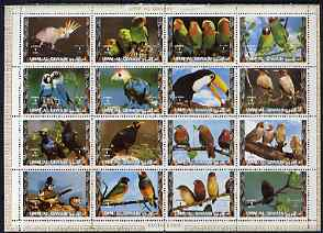 Umm Al Qiwain 1972 Exotic Birds #2 sheetlet containing 16 values unmounted mint (Mi 1402-17A)