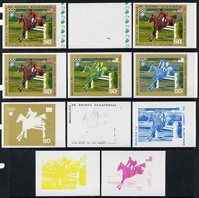 Equatorial Guinea 1972 Munich Olympics (5th series) 3-Day Eventing 50pts (William Steinkraus on Snowbound) set of 11 imperf progressive proofs comprising the 6 individual colours plus composites of 2, 3, 4, 5 and all 6 colours, a superb group unmounted mint (as Mi 132)