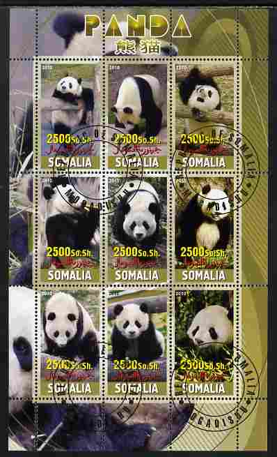 Somalia 2010 Pandas perf sheetlet containing 9 values fine cto used