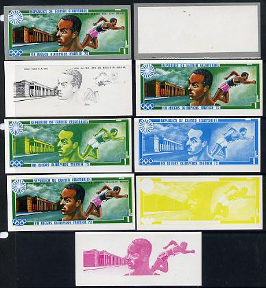 Equatorial Guinea 1972 Munich Olympics (2nd series) Past Champions 1pt (J Owens) set of 9 imperf progressive proofs comprising the 5 individual colours plus composites of 2, 3, 4 and all 5 colours, a superb and important group unmounted mint (as Mi 81)