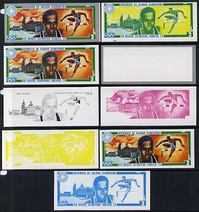 Equatorial Guinea 1972 Munich Olympics (2nd series) Past Champions 3pts (L Calhoun) set of 9 imperf progressive proofs comprising the 5 individual colours plus composites of 2, 3, 4 and all 5 colours, a superb and important group unmounted mint (as Mi 83)