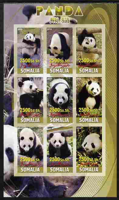 Somalia 2010 Pandas imperf sheetlet containing 9 values unmounted mint