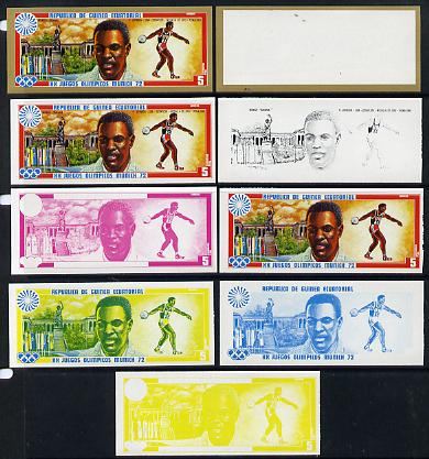 Equatorial Guinea 1972 Munich Olympics (2nd series) Past Champions 5pts (R Johnson) set of 9 imperf progressive proofs comprising the 5 individual colours plus composites...