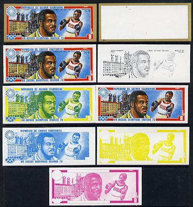Equatorial Guinea 1972 Munich Olympics (2nd series) Past Champions 8pts (J Frazier) set of 9 imperf progressive proofs comprising the 5 individual colours plus composites...
