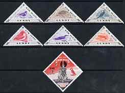 Lundy 1955 Erik Bloodaxe Millenary triangular & Diamond shaped (Air Mail) perf set of 7 unmounted mint, Rosen LU118-24