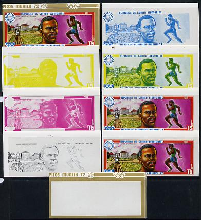 Equatorial Guinea 1972 Munich Olympics (2nd series) Past Champions 15pts (K Keino) set of 9 imperf progressive proofs comprising the 5 individual colours plus composites ...