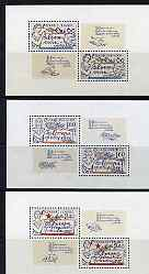 Czechoslovakia 1977 European Co-operation for Peace set of 3 sheets (each containing 2 stamps & 2 labels) unmounted mint SG 2364-66