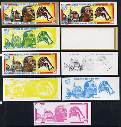 Equatorial Guinea 1972 Munich Olympics (2nd series) Past Champions 50pts (R Beamon) set of 9 imperf progressive proofs comprising the 5 individual colours plus composites...