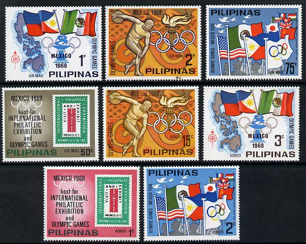 Philippines 1968 Olympic Games the unissued set of 8 values unmounted mint (see note after SG 1071)