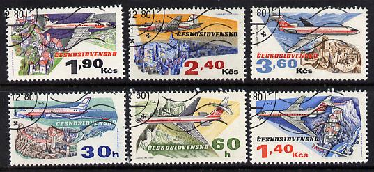 Czechoslovakia 1973 50th Anniversary of Czech Airlines perf set of 6 fine used SG 2128-33