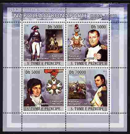 St Thomas & Prince Islands 2008 Napoleon Bonaparte perf sheetlet containing 4 values unmounted mint