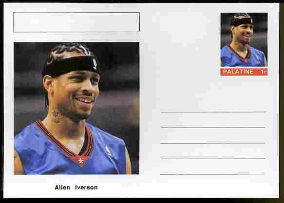 Palatine (Fantasy) Personalities - Allen Iverson (basketball) postal stationery card unused and fine