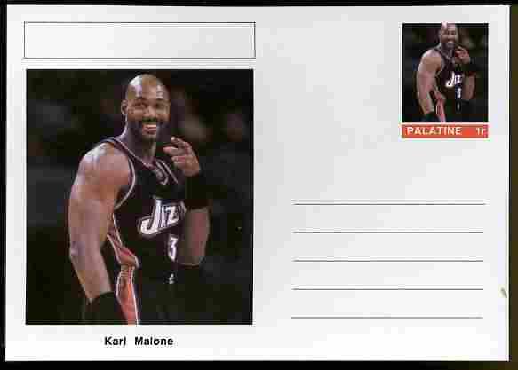 Palatine (Fantasy) Personalities - Karl Malone (basketball) postal stationery card unused and fine