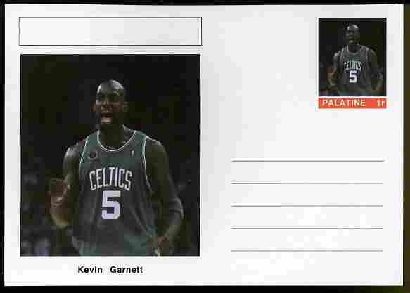 Palatine (Fantasy) Personalities - Kevin Garnett (basketball) postal stationery card unused and fine, stamps on personalities, stamps on sport, stamps on basketball