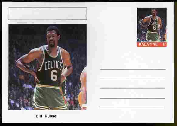 Palatine (Fantasy) Personalities - Bill Russell (basketball) postal stationery card unused and fine