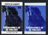 St Vincent - Grenadines 1986 Statue of Liberty Centenary $8 die proof in red and blue only on plastic (Cromalin) card ex archives (perf stamp not included)
