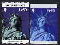 Montserrat 1986 Statue of Liberty Centenary $4.50 die proof in red and blue only on plastic (Cromalin) card ex archives, plus perf stamp