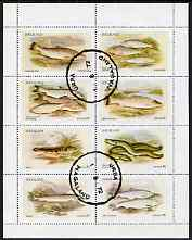 Nagaland 1972 Fish (Trout, Salmon, Sturgeon, Eels, etc) perf  set of 8 values fine cto used (2ch to 50ch)