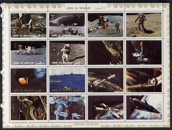 Umm Al Qiwain 1972 History of Space #2 sheetlet containing 8 values plus 8 labels unmounted mint, Mi 1194-1201A