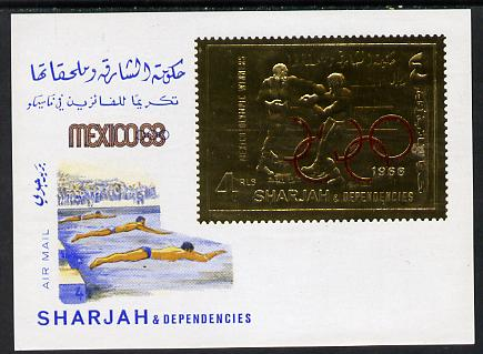 Sharjah 1968 Olympic Games 4r m/sheet (Boxing & Swimming) without gum, Mi BL 46