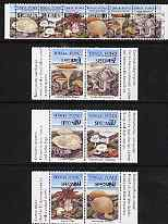 Tonga 1997 Fungi perf set of 12 (Strip of 6 & 3 se-tenant pairs) each opt'd SPECIMEN unmounted mint, as SG 1409-20