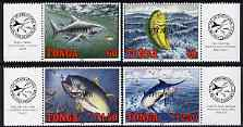 Tonga 1994 Game Fishing perf set of 4 each opt'd SPECIMEN unmounted mint, as SG 1267-70