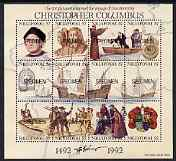 Tonga - Niuafo'ou 1992 500th Anniversary of Discovery of America by Columbus perf sheetlet containing 12 values each opt'd SPECIMEN unmounted mint, as SG MS164, stamps on explorers, stamps on columbus, stamps on ships, stamps on arms, stamps on heraldry, stamps on navigation