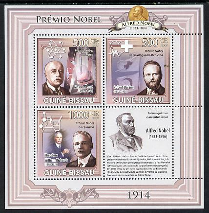 Guinea - Bissau 2009 Nobel Prize Winners - 1914 perf sheetlet containing 4 values unmounted mint