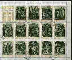 Ras Al Khaima 1970 The Death of Christ perf sheetlet containing set of 14 values fine cto used, Mi  498-511