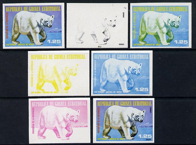 Equatorial Guinea 1977 North American Animals 1e25 (White Bear) set of 7 imperf progressive proofs comprising the 4 individual colours plus 2, 3 and 4-colour composites, a superb and important group unmounted mint (as Mi 1239)