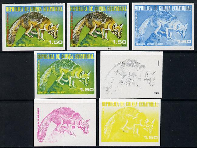 Equatorial Guinea 1977 North American Animals 1e50 (Grey Fox) set of 7 imperf progressive proofs comprising the 4 individual colours plus 2, 3 and 4-colour composites, a superb and important group unmounted mint (as Mi 1240)