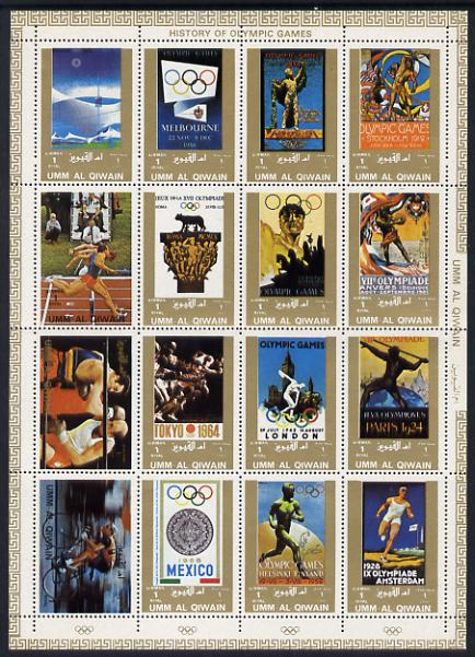 Umm Al Qiwain 1972 History of Olympics sheetlet containing 16 values unmounted mint (Mi 1098-1113A)