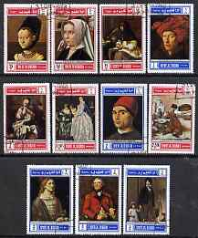 Umm Al Qiwain 1968 Paintings perf set of 11 cto used, Mi 243-53A