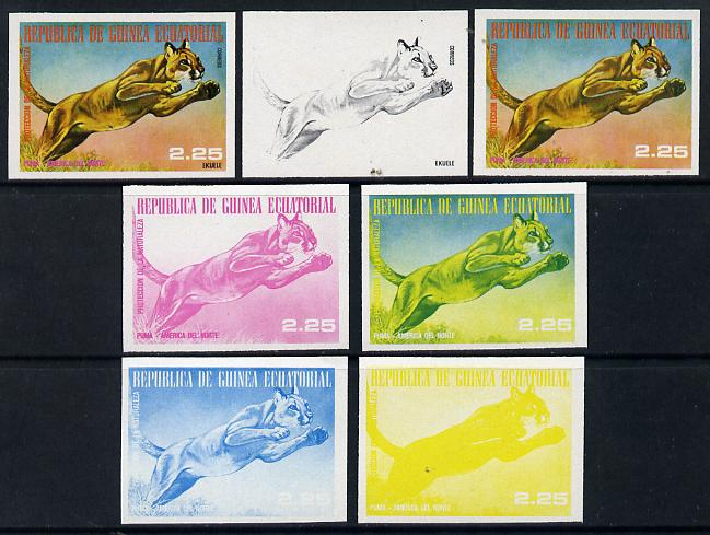 Equatorial Guinea 1977 North American Animals 2e25 (Puma) set of 7 imperf progressive proofs comprising the 4 individual colours plus 2, 3 and 4-colour composites, a superb and important group unmounted mint (as Mi 1243)