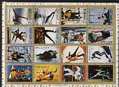 Ajman 1972 Olympic Sports perf set of 16 fine cto used, Mi 2717-32A, stamps on sport, stamps on fencing, stamps on sailing, stamps on wrestling, stamps on judo, stamps on skiing, stamps on skating, stamps on bobsled, stamps on biathlon, stamps on ice hockey, stamps on olympics, stamps on martial arts