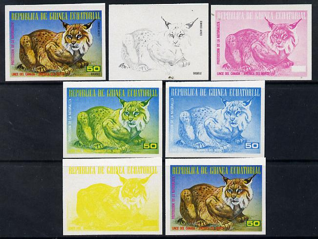 Equatorial Guinea 1977 North American Animals 50e (Lynx) set of 7 imperf progressive proofs comprising the 4 individual colours plus 2, 3 and 4-colour composites, a super...