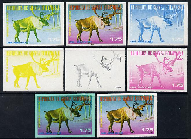 Equatorial Guinea 1977 North American Animals 1e75 (Caribou) set of 8 imperf progressive proofs comprising the 4 individual colours, 2, 3 and 4-colour composites plus 4-colour on green paper, a superb and important group unmounted mint (as Mi 1241)