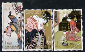 Sharjah 1967 Post Day (Japanese Paintings) perf set of 3 cto used, Mi 350-52*