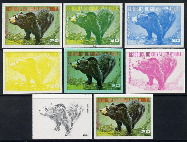 Equatorial Guinea 1977 North American Animals 20e (Black Bear) set of 8 imperf progressive proofs comprising the 4 individual colours, 2, 3 and 4-colour composites plus 4-colour on green paper, a superb and important group unmounted mint (as Mi 1244)
