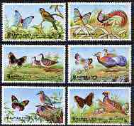 Ajman 1972 Butterflies & Birds perf set of 6 cto used, Mi 2029-34*