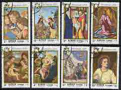 Ajman 1969 Christmas Paintings perf set of 8 cto used, Mi 488-95*, stamps on arts, stamps on christmas, stamps on botticelli, stamps on giotto, stamps on correggio, stamps on el greco, stamps on books