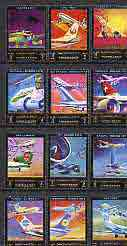 Ajman 1972 Aircraft & Airlines perf set of 12 cto used*